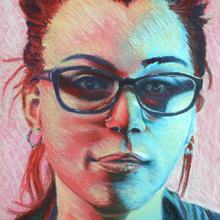 """Drawing II,  Self-Portrait, Complex Duel Color and Mark Making (no black allowed) Soft Pastel 15"""" x 22"""""""