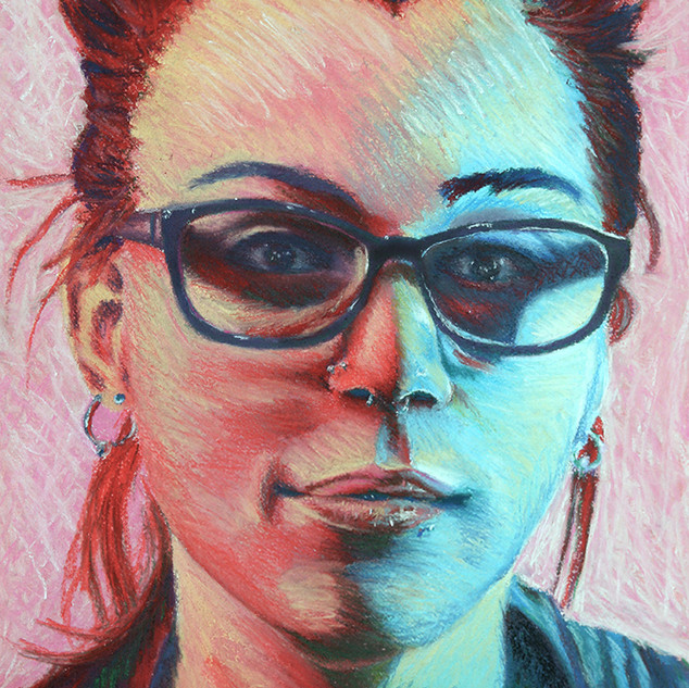 "Drawing II,  Self-Portrait, Complex Duel Color and Mark Making (no black allowed) Soft Pastel 15"" x 22"""