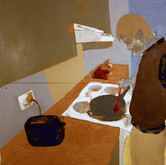 Title: Thin Walls: Cooking Medium: Acrylic, wood panel Size: 4' x 4'