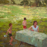 """green lawn, oil on panel, 12"""" x 12"""", 2010"""