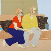 Title: Thin Walls: They Stopped Medium: Acrylic, wood panel Size: 8' x 14'