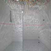 of air, once, analogous (for Gustaf Sobin), proofing paper, tempera paint, straws, straws with parasols, 14' x 16' x 44, 2012, made in Milwaukee, WI.