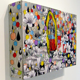 """What I saw when I looked deeply into the Kudzu (install) 2011 Acrylic and Collage on Constructed Panel 24"""" x 36"""" x 5"""""""