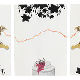 """Come little girl, come from """"Mi Tigre My Lover"""" series.   30""""x 66"""" (triptych).  2009-2010.  Mineral pigment and graphite on paper."""