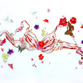 """Bacon Bra and Flowers Watercolors on paper 26"""" x 39"""""""