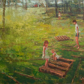 """backyard with wooden palettes, oil on canvas, 24"""" x 36"""", 2010"""