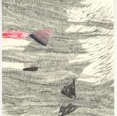 "imaginary story–nine Mixed Media, Graphite  with Collage on Paper 10.25"" x 9.75"" 2009"