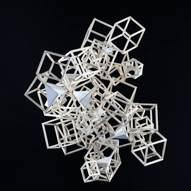 """3D Design, Project: Flightless Kites   Balsa Wood, Paper, Wood Glue 17"""" x 12"""" x 14"""""""