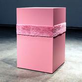 """Minimalism is so Gay! (2012),  MDF, latex paint, yarn, latch hook canvas,  32"""" x 21"""" x 21"""""""