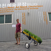 Mobile Garden Intervention (Seoul Version), 2010, Seoul, South Korea, hydroponic chives repurposed/recycled materials.
