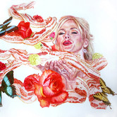 """Bacon and Anna Nicole   Watercolors on paper 30"""" x 40"""""""