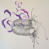 """I shall be sweet and crafty, soft and sly from """"Blooming without Savage You"""" series. 30""""x 22"""".  2008.   Graphite, ink and mineral pigment on paper."""