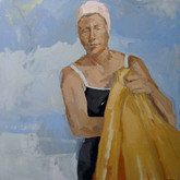 "Sunny day; orange towel, 24x24"", Oil on Canvas, 2009"
