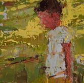 "little study green grass, oil on panel, 2"" x 3.25"", 2010"