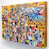 """Shoo Fly (install) 2011 Mixed Media on Panel 36"""" x 48"""" x 4"""""""