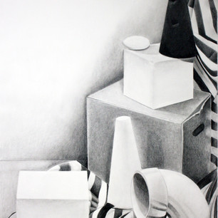 """Beginning Drawing, Project: Perspective Investigation  Graphite 18"""" x 24"""""""