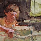 """little study matt with cake, oil on panel, 3.25"""" x 2"""", 2010"""