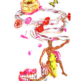 """G.I. Joe and Bacon Wreath Lasso with Dentures Watercolors on paper 23"""" x 30"""""""
