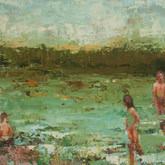 """at the lake, oil on panel, 12"""" x 36"""", 2010"""