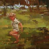 "boy running, oil on linen, 5"" x 7"", 2010"
