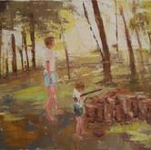 "empty lot backyard, oil on canvas, 16"" x 12"", 2010"