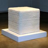 "Dude, that's not a Judd! (2011),  yarn, latch hook canvas, wood, upholstery foam, 480 hours of latch hooking,  26"" x 26"" x 26"""