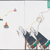 """Splendor of Amazing Boys, Girls and Animals #3.   41""""x 58"""" (diptych).  2006-2007.   Mineral pigment and graphite on paper."""
