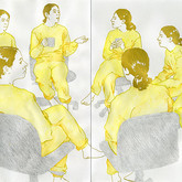 "Erma Series: Another Meeting, 2012, 12""x 24"", mixed media drawing on paper"
