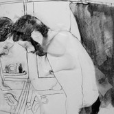 Title: Thin Walls: Tired Medium: charcoal, paper Size: 2' x 3'