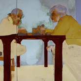 Title: Thin Walls: Do we Talk? Medium: Acrylic, wood panel Size: 4' x 6'