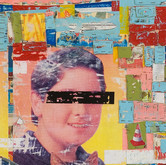 """Richy (detail) 2008 Acrylic and Collage on Panel 48"""" x 48"""" x 4"""""""