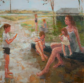 """reflective driveway, oil on canvas, 36"""" x 48"""", 2010"""