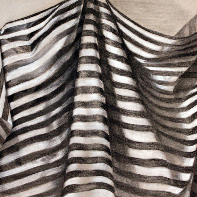 Beginning Drawing, Project: Fabric Study on Tonal Paper   Charcoal, Graphite, White Charcoal 18' x 24""