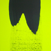 "Untitled (Horizon) synthetic rubber coating on fluorescent yellow fabric, 48"" x 28"", 2009"