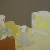 Title: Thin Walls: Family Programming Medium: Acrylic, wood panel Size: 4' x 8'