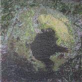 "ennis Anyone? (2011),  clear pushpins, acrylic paint, wood, 43"" x 43"" x 3"""