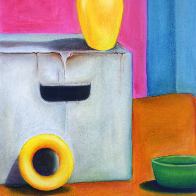 "Drawing II,  Project: Geometric Still-life, Under Painting and Shadow Quality (no black allowed) Soft Pastel 15"" x 22"""