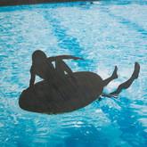 "Swimming Pool 16"" x 24"" Inkjet print with graphite"