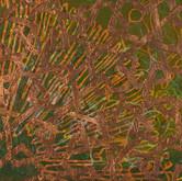 """Negative Feedback I acrylic and metal leaf on canvas 15"""" x 30"""" 2011"""