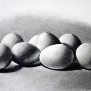 """Beginning Drawing Project: Edge Without Line, Reflected Light, Value Range  Graphite on Paper 8""""x 10"""""""