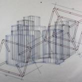 "Family Schematic (2012),  marker, vellum, gold mini brads,  19"" x 24"""