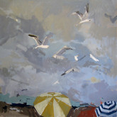 "Rockaway; Gulls, 24x24"", Oil on Canvas, 2009"
