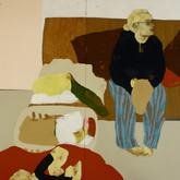Title: Thin Walls: I Can Hear My Neighbor  Medium: Acrylic, wood panel Size: 4' x 8'