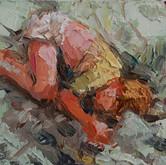 """little study matt sleeping, oil on panel, 3.25"""" x 2"""", 2010"""