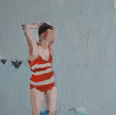 "At the edge; stripes and flags, 11x14"", Oil on Canvas, 2009"