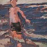 "little study dad in ocean, oil on panel, 2"" x 3.25"", 2010"