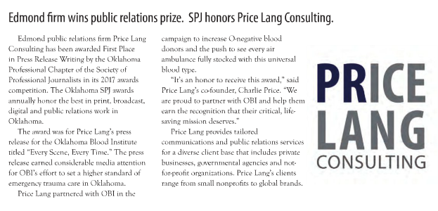 SPJ honors Price Lang Consulting