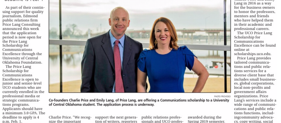 Price Lang announces scholarship for UCO communications students