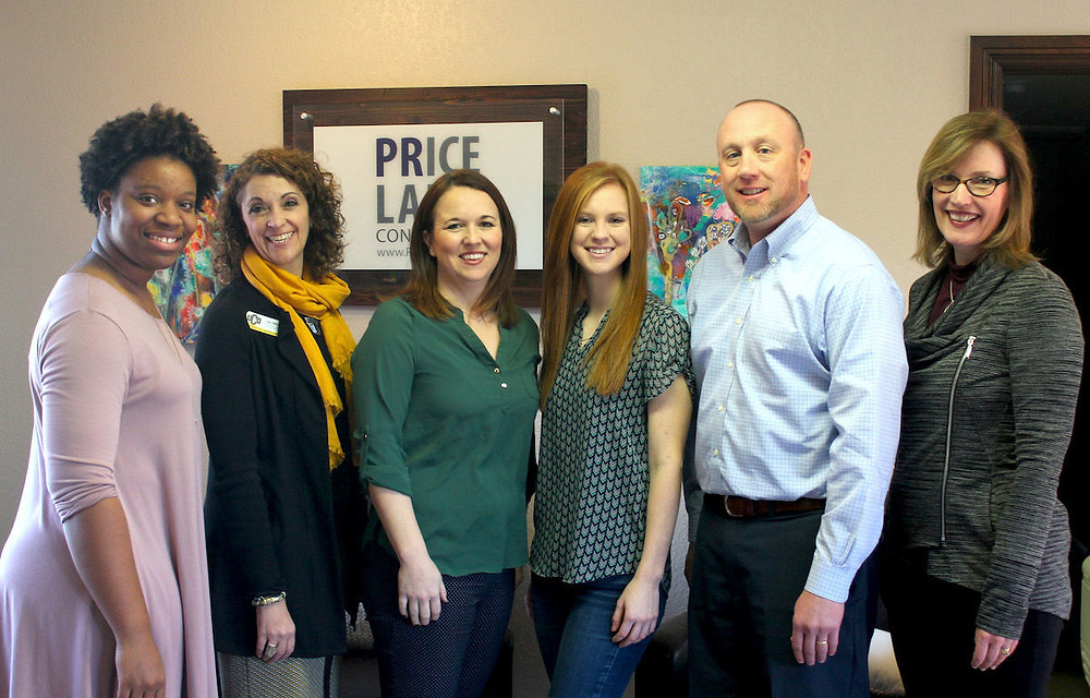 Kayle Leinneweber, fourth from left, is this year's recipient of the UCO Price Lang Scholarship. She is pictured with Chelsi Dennis, development coordinator at UCO; Lea Morgan, development manager at UCO; Emily Lang, Price Lang Consulting; Charlie Price, Price Lang Consulting; and Dr Mary Carver, chair of UCO Department of Mass Communications.