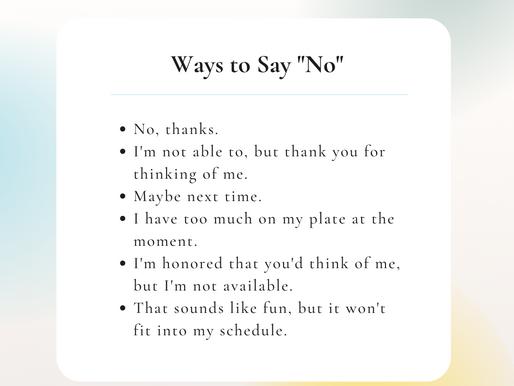 "6 Ways to Say ""No"""